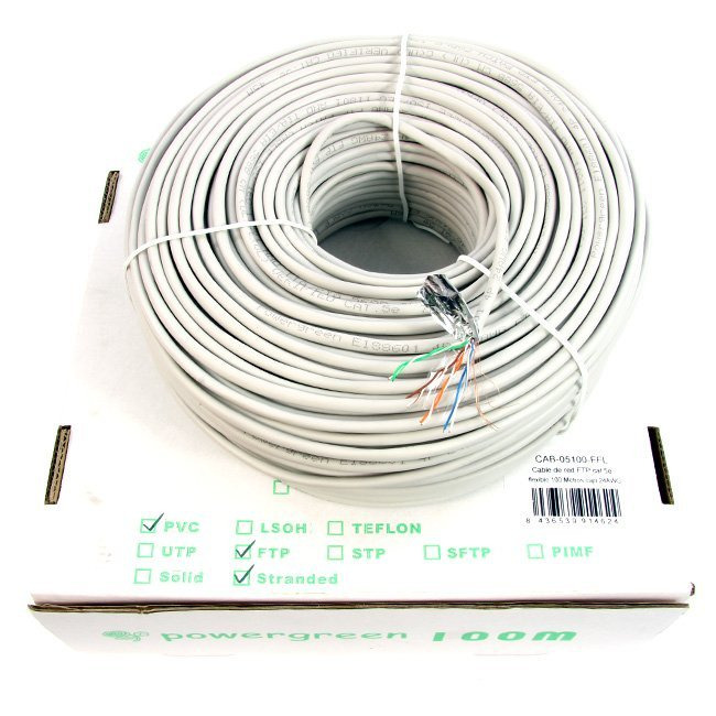 BOBINA DE CABLE Cat 5e FTP 100 METROS FLEXIBLE CAJA 24AWG