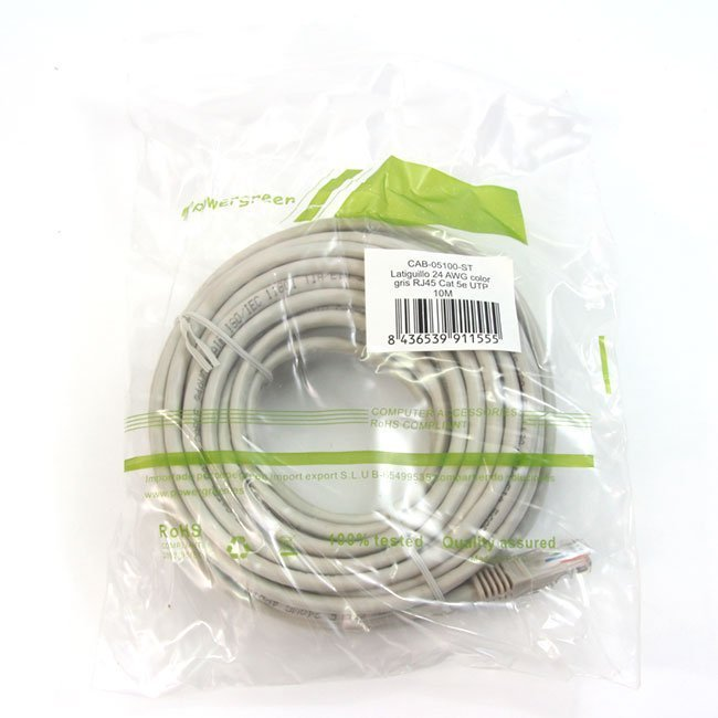 LATIGUILLO COLOR GRIS RJ45 Cat 5e UTP 10 METROS PVC