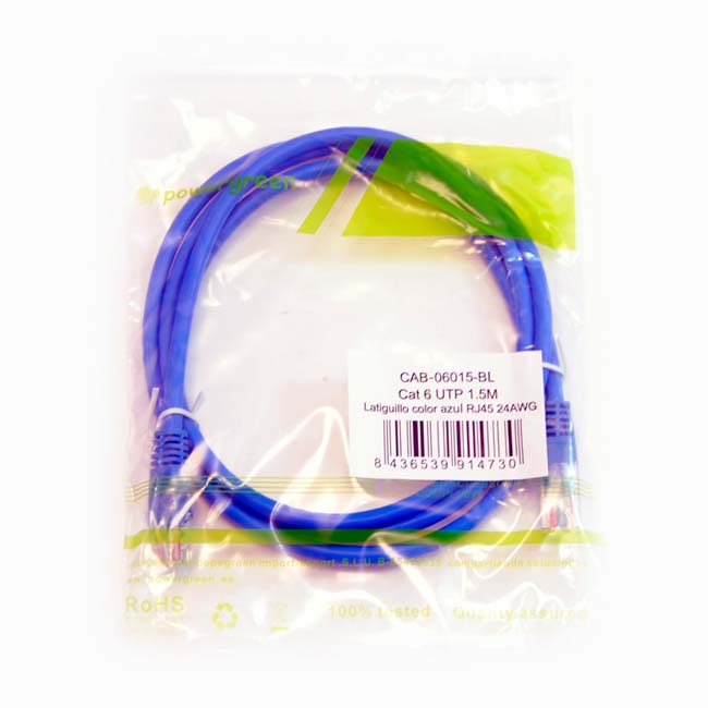 LATIGUILLO COLOR AZUL RJ45 Cat 6 UTP 1.5 METROS