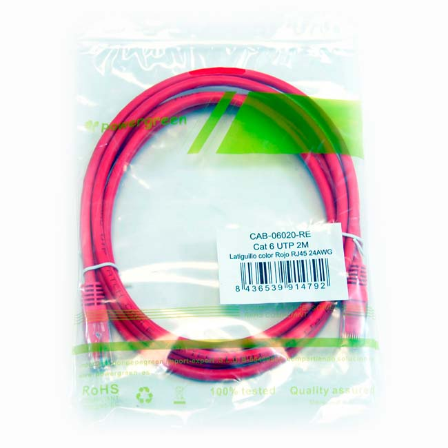 LATIGUILLO COLOR ROJO RJ45 Cat 6 UTP 2 METROS