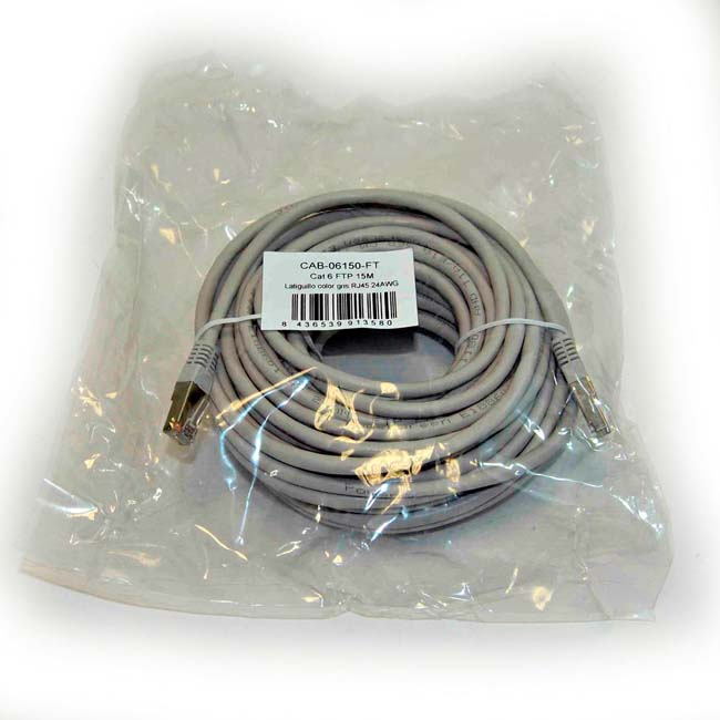 LATIGUILLO COLOR GRIS RJ45 Cat 6 FTP 15 METROS 24AWG