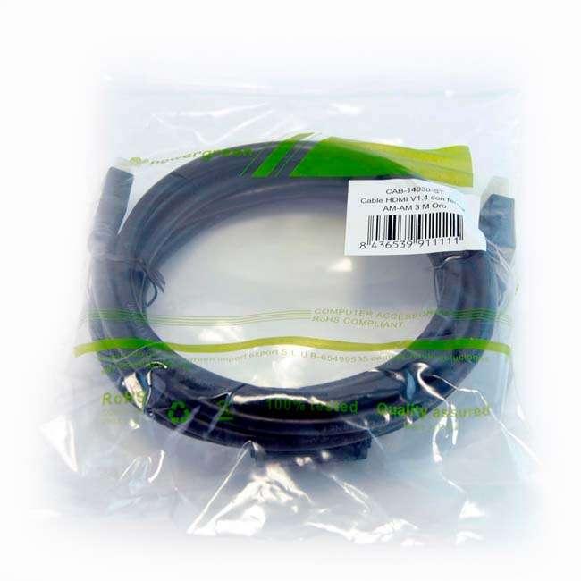 CABLE HDMI V1.4 CONECTOR FERRITA AM-AM ORO – 3 METROS