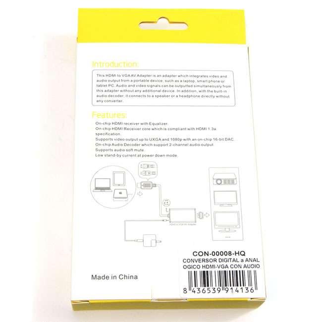 CONVERSOR DIGITAL A ANALOGICO HDMI-VGA CON AUDIO