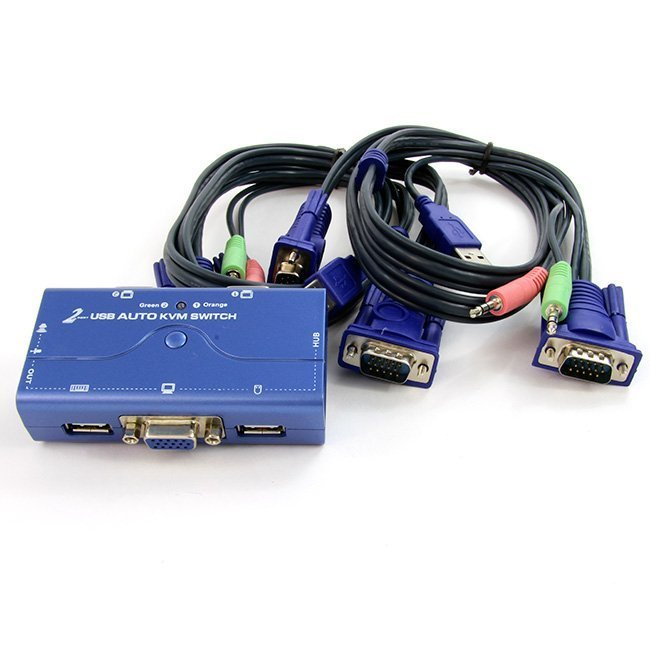 2 PUERTOS USB KVM SWITCH (CON CABLES)