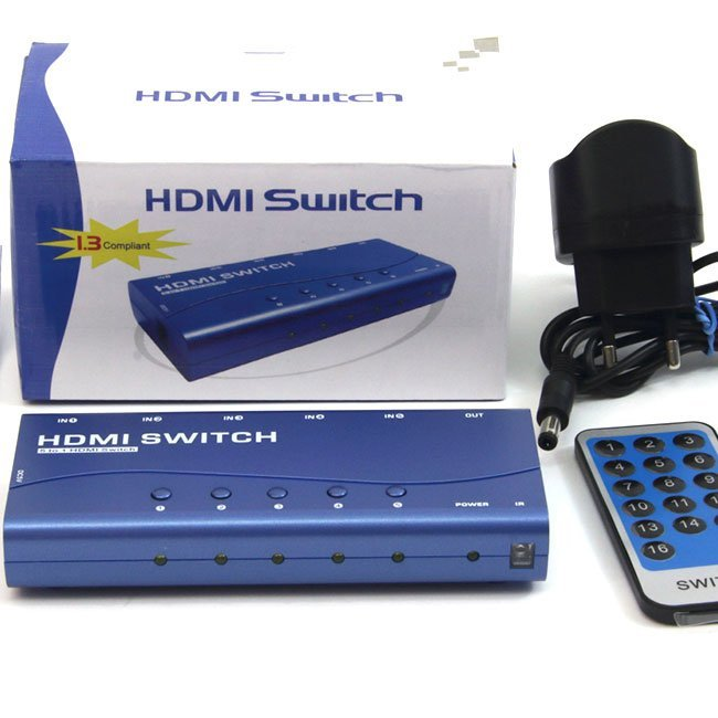 SWITCH 5 ENTRADAS - 1 SALIDA HDMI (IR REMOTE)
